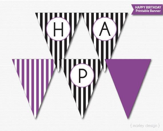 Ideal Happy Birthday Banner Printable Black Stripes Purple Birthday  SD52
