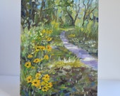 "oil painting plein air landscape original impressionist fine art trail path wild flowers nature painting 9"" X 12"" panel american realist"