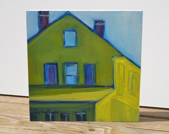 """Painting of yellow house 