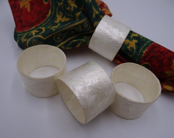 Four Faux Mother of Pearl Napkin Rings - Pretty Napkin Rings - White Napkin Rings - Modern Napkin Rings - 2 Sets Available