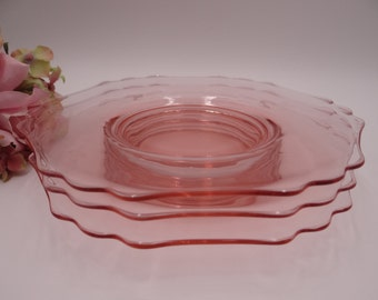 Three Signed Cambridge Pink Depression Glass Salad or Luncheon Plates with Scalloped Edges - 3 Pretty Pink Plates