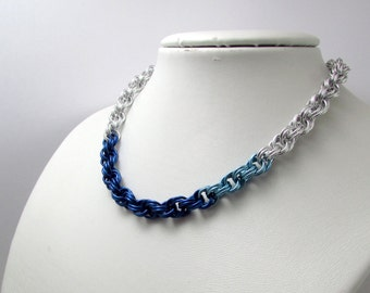 Two Tone Blue and Silver Necklace – Double Spiral Chainmaille - Nickel Free Chain Necklace - Handmade Chainmail