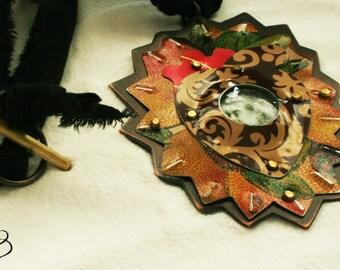 Reclaimed tin QUEEN talisman necklace