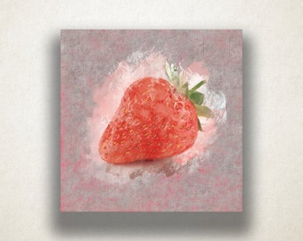 Strawberry Painting Canvas Art Print, Fruit Wall Art, Food Canvas Print, Artistic Wall Art, Canvas Art, Canvas Print, Home Art, Wall Art