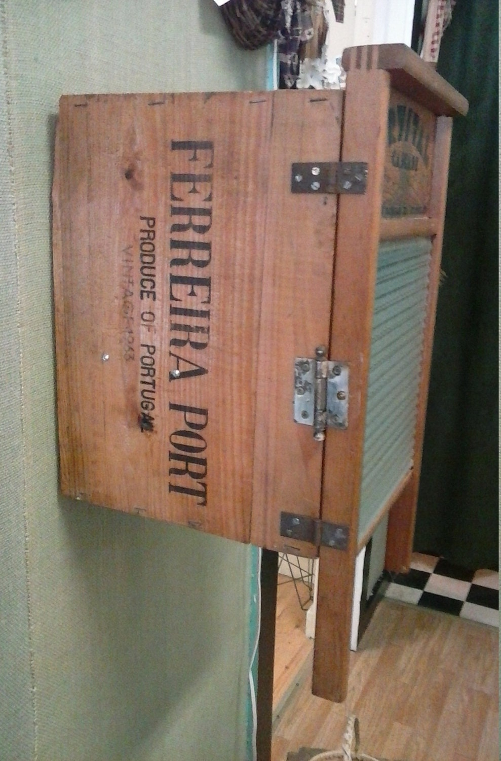 upcycled glass washboard crate wall cabinet primitive home decor