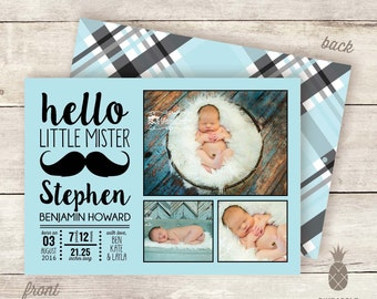 Hello Little Mister Baby Birth Announcement