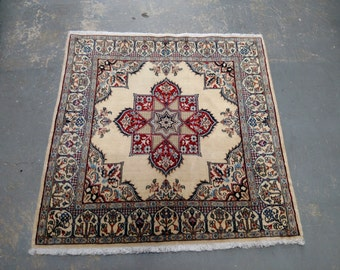 1990s Hand-Knotted Wool & Silk Nain Persian Rug (3324)