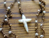 Pearl Cross Lariat Necklace, Crochet Necklace, Boho Necklace, Cultured Pearl Necklace