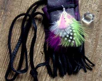 Leather Medicine Bag Necklace, Layering Necklace,  Bohemian Jewelry