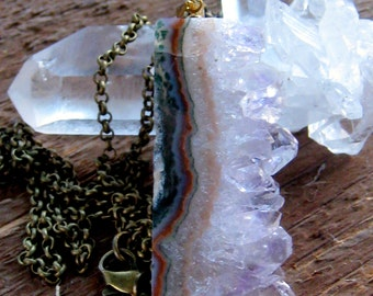 Amethyst  Geode Crystal Slice Necklace Gold Plated Bohemian Jewelry
