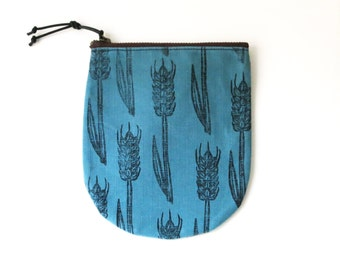 Wheat stalks wood block print, Waxed canvas, Small zipper pouch, Coin Purse ,Pencil case, Cosmetic Bags, Zipper pocket, Blue, gift for him