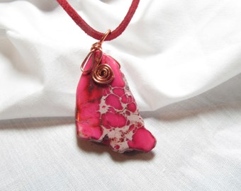 Pink Necklace Jasper Stone Wire Wrapped Pendant Pink Chunk Copper Wire Wrapping Natural Stone Necklace
