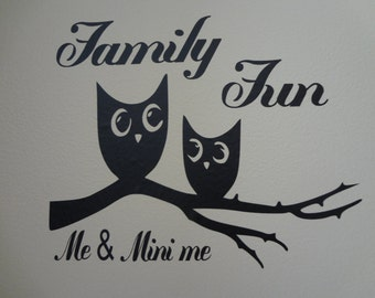 Me & Mini Me Owl Wall Interior Decal Home Decor Sticker Bird Decoration Family Indoor Quote Kids Family Words Mother Daughter Father Son Art
