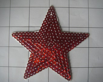 """3.5"""" red Star Applique Sequins Iron on or Sew on (A-17b)"""