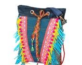 Bohemian crossbody bag with fringes, summer purse Ibiza style, shoulder bag OOAK handmade, woman gift handbags, Aztec bag Indian colored