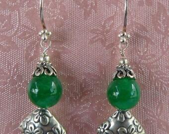 Green Jade - Sterling Silver - Earrings