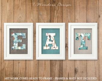 EAT Modern Kitchen Art Prints, Digital Watercolor Geometric Patterns- Set  of (3)