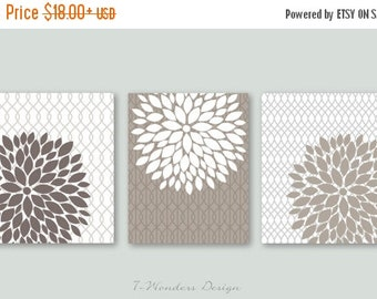 ON SALE Floral Bursts Botanicals Wall Art Print Set of (3) 5 x 7, 8 x 10 or 11 x 14 // Dust, Khaki, White // Modern Home Decor
