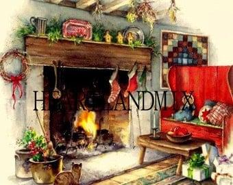 Christmas Eve Fireplace Digital Image Downloadable, Printable Digital Art Image Instant Download