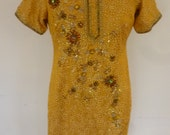 Hippie Tunic Bollywood Indian Top Gold Silky Rayon with Jewel and Sequin Floral Design Size M
