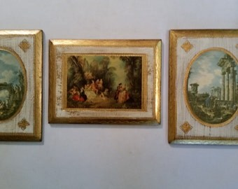 Hollywood Regency Plaques Florentine Gold Triptych Wall Hangings Romantic Roman Ruins Old Master Copies Made in Italy 1970's