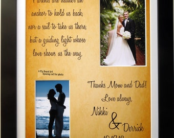 Parents of the Bride Gift or Groom: Personalized Thank You Wedding Gifts For Mom Dad Custom For Mother Father Anchor Quote Art Print 11x14
