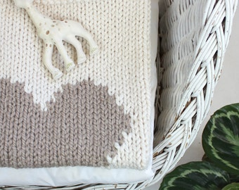 Heart Baby Blanket Cream and Desert Beige Hand Knit for Bassinet, Stroller or Car Seat