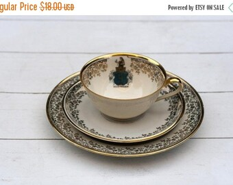 SALE Vintage German Teacup and Saucer Trio Set- Souvenir- Gold Floral Border with Town Shield Bad Oeynhausen