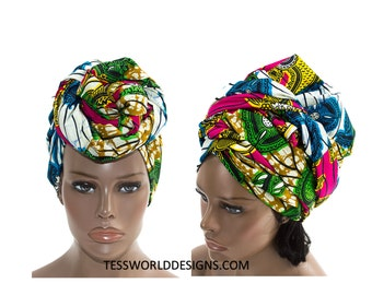 Turban Headwrap , Head wrap Scarf , Multi colored , Head wrap , Head wrap Women , Head Wrap for Women , African accessory , African ,  HT146