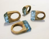 Wood ring with blue ecopoxy resin and gold leaf. Handcrafted ring for girfriend. Wood statement ring.