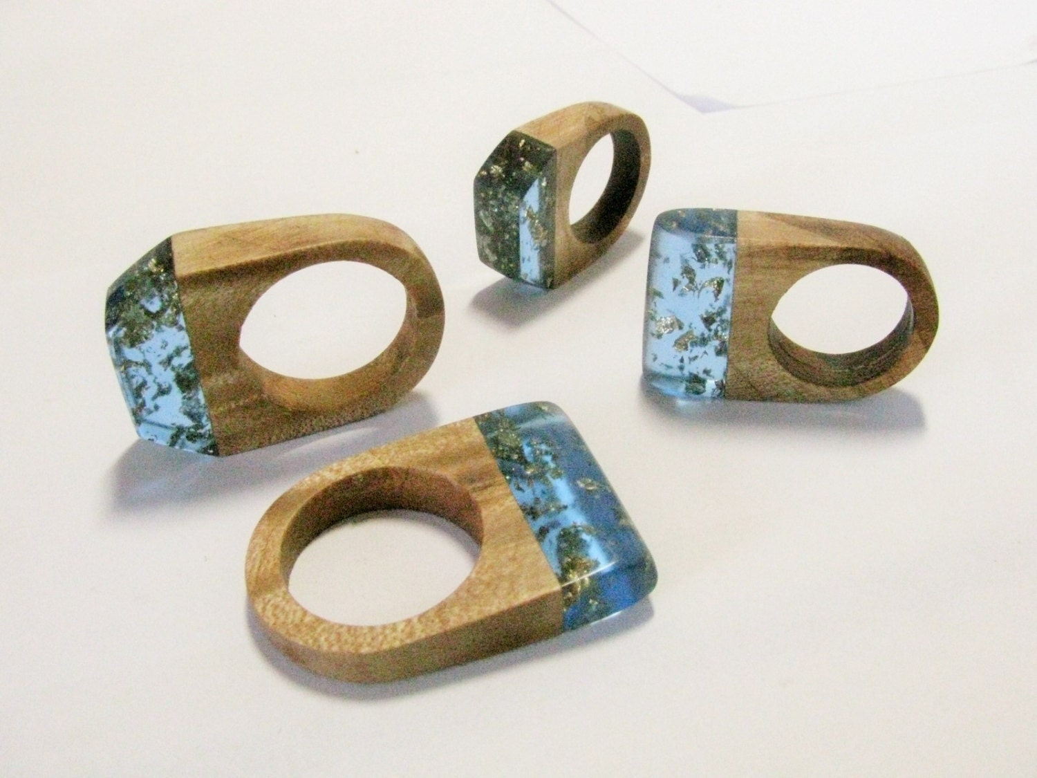 Wood ring with blue ecopoxy resin and gold leaf handcrafted for Design your own wooden ring