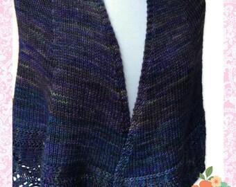 Purple Merino Wool Shawl Lace border Blue hand knit Malabrigo Rios Yarn