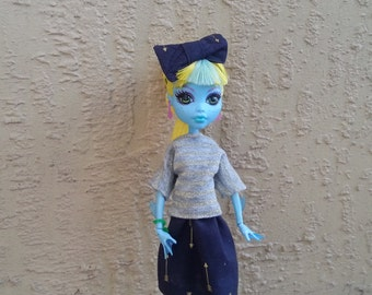 Monster Doll T-Shirt and Skirt Set with Hair Bow Nautical Outfit Navy and Gold