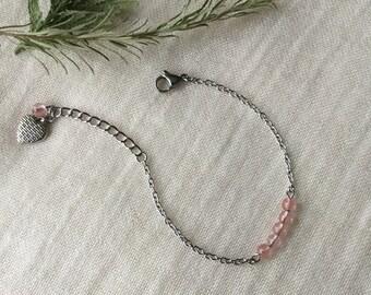 Delicate bracelet cherry Quartz - minimalist - the era of jewelry - stainless steel - gemstones - heart - Chic.
