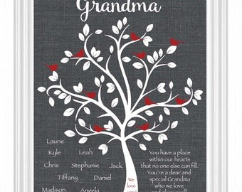 GRANDMA gift - 8x10 print - Personalized Gift for Nana - Grandmother - Birthday - Mother's Day - Christmas - Up to 10 names - Other colors