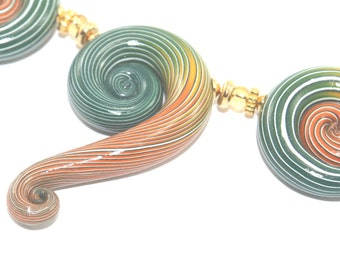 Set of 5 ombre spiral beads, Polymer Clay beads with unique stripes, elegant gradient spiral beads in green, orange and white