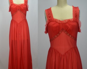 1950s Vamp Red Nylon Nightgown with Crystal Pleating by Rogers Size 32