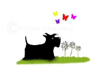 Scottie Dog  Art Print 'Butterfly's' #173