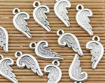60pcs tibetan silver plated 2sided wing charm pendants EF1960