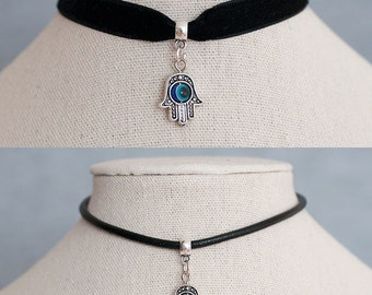 Antique Silver Hamsa Hand Evil Eye Velvet Ribbon/Real Black Leather Cord Choker Necklace