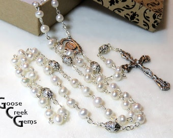 Sweet Water Cultured Pearl Rosary with Detailed Miraculous Medal Center