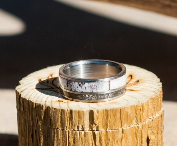 Mens Wedding Band Elk Antler Amp Iron Ore Ring By StagHeadDesigns