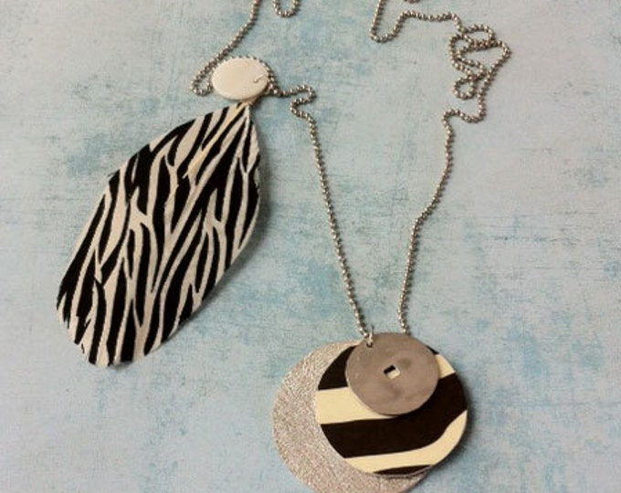 Boho Necklace animal print - black and white - asymmetric necklace - tribal style - lariat and Y - circle locket - natural feather necklace