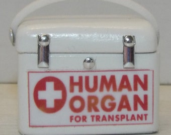 Dollhouse miniature handcrafted Medical Organ transport container box 1/12th