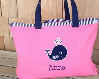 Kids Personalized Pink Nautical Tote with Whale Design