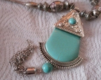 Large statement turquoise and engraved silver metalic beaded handmade big pendant necklace christmas present party