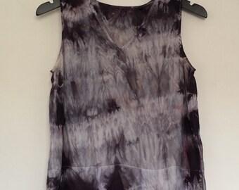 Pure Silk Festival Boho Tie Dye Purple Silver Grey Top  ~ Medium AU 10 - 12 US 8 - 10~  Grunge Hippy Faerie Fairy Rock Chick