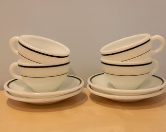 Four Pyrex Cups and Saucers with Hunter Green Stripe