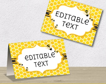 Editable PDF Printable - Bee Bumblebee Label / Sticker / Tent Card - DIY - Yellow Black Grey