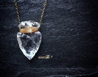 Raw Quartz Arrowhead Necklace / Natural Arrowhead Necklace / Crystal Pendant / Rough Cut Quartz / Bohemian Boho Jewelry / Mini Arrowhead